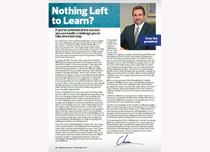 November Issue Feature: From the President - Nothing Left to Learn?